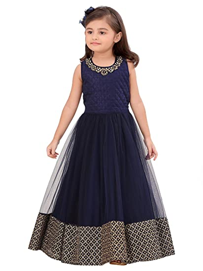 f4f9752dded Cartyshop Blue Form with Golden Embroidery Lace Gown Dress for Girls (2-3  Years