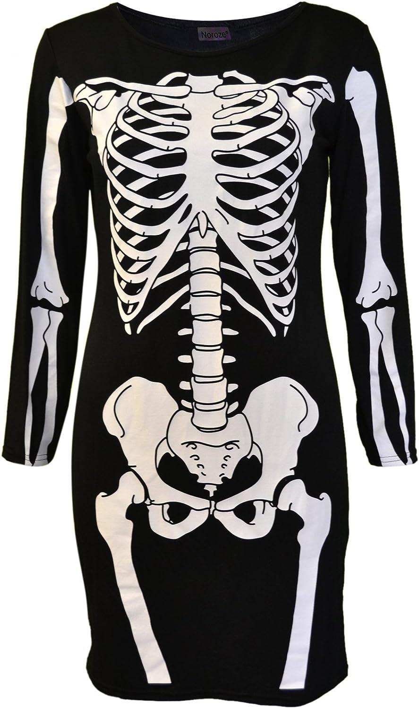 NOROZE Mujeres Halloween Esqueleto Vestido Cr/áneo Hueso Rojo Sangre Coraz/ón Ni/ñas Disfraz Amoldeado al Cuerpo Novedad Vestido de Fiesta