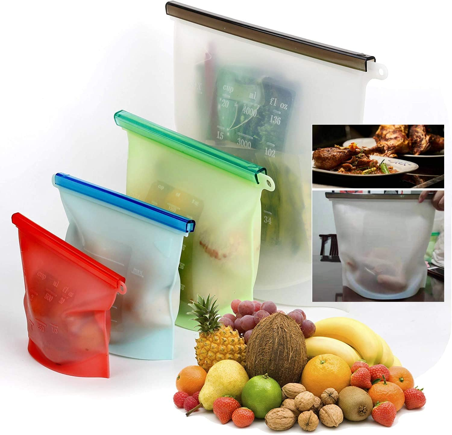 CMP Reusable Silicone Food Storage Bags,Airtight Seal Food Preservation Container Sets for Chicken Meat Fruits Vegetables Snack Lunch Liquid Sous Vide Sandwich Freezer Microwave 4 Pack XL-L-M-S
