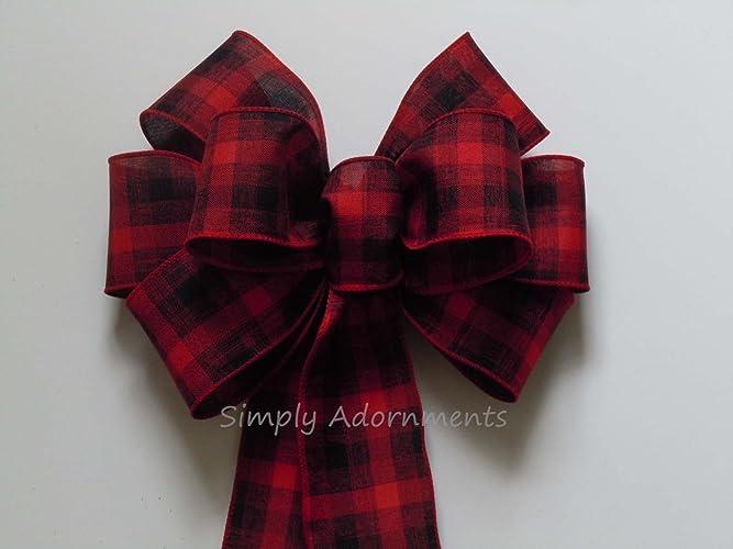 Red Black Plaid Bow Lumperjack Plaid Wreath Bow Red Black Tartan Bow  Country Wedding Bow Cabin
