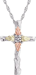 product image for Black Hills Gold on Silver Textured Cross Pendant