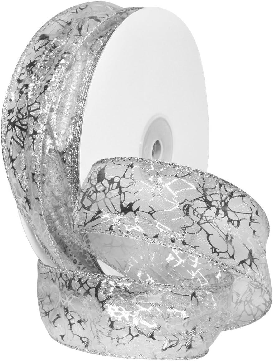 1 1//2 x 50 yd Morex Ribbon 7426.40//50-701 French Wired Nylon Enchantment Ribbon White//Silver