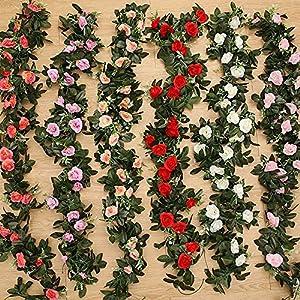 SeedWorld Artificial & Dried Flowers - 2.4m/7.8ft Artificial Silk Rose Flower Wisteria Vine Rattan Hanging Flower Garland for Wedding Party Home Garden Decoration 1 PCs 109