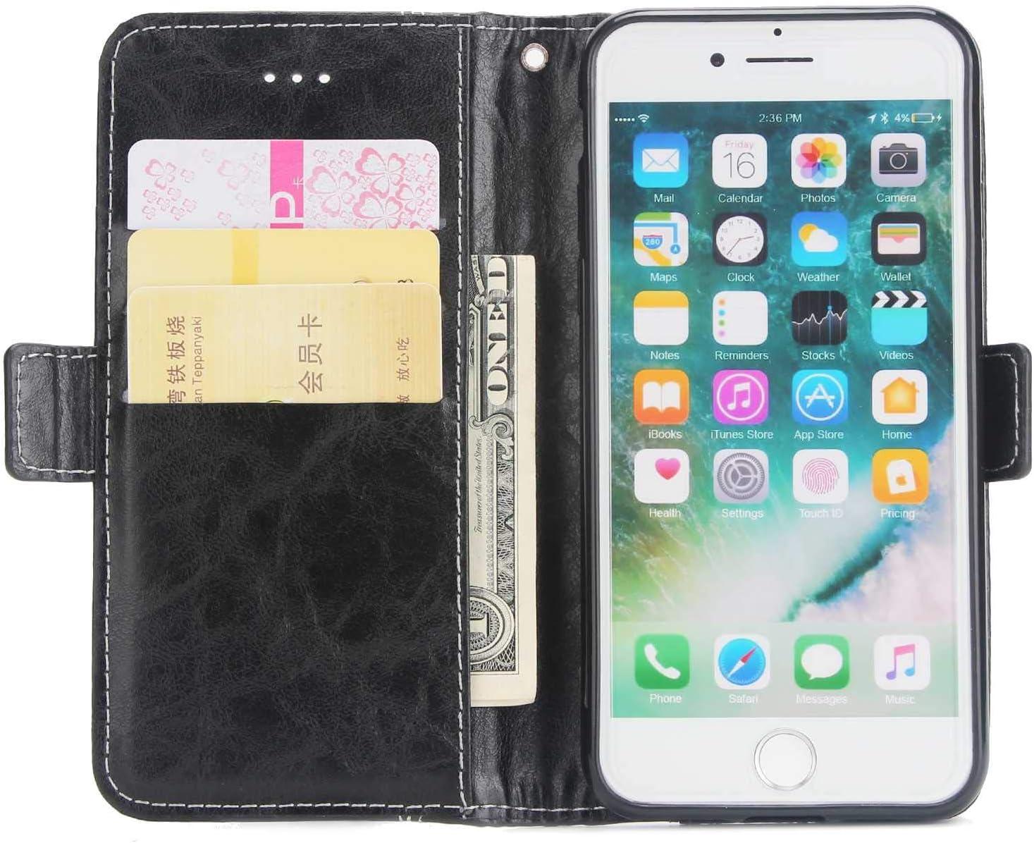 iPhone 8 iPhone 8 SONWO Simple R/étro PU Cuir Flip Portefeuille de Protection Etui avec Rangements de Cartes et Fonction Stand pour iPhone 7 Coque iPhone 7 Rouge