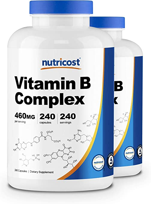 Nutricost High Potency Vitamin B Complex 460mg, 240 Capsules (2 Bottles) - with Vitamin C