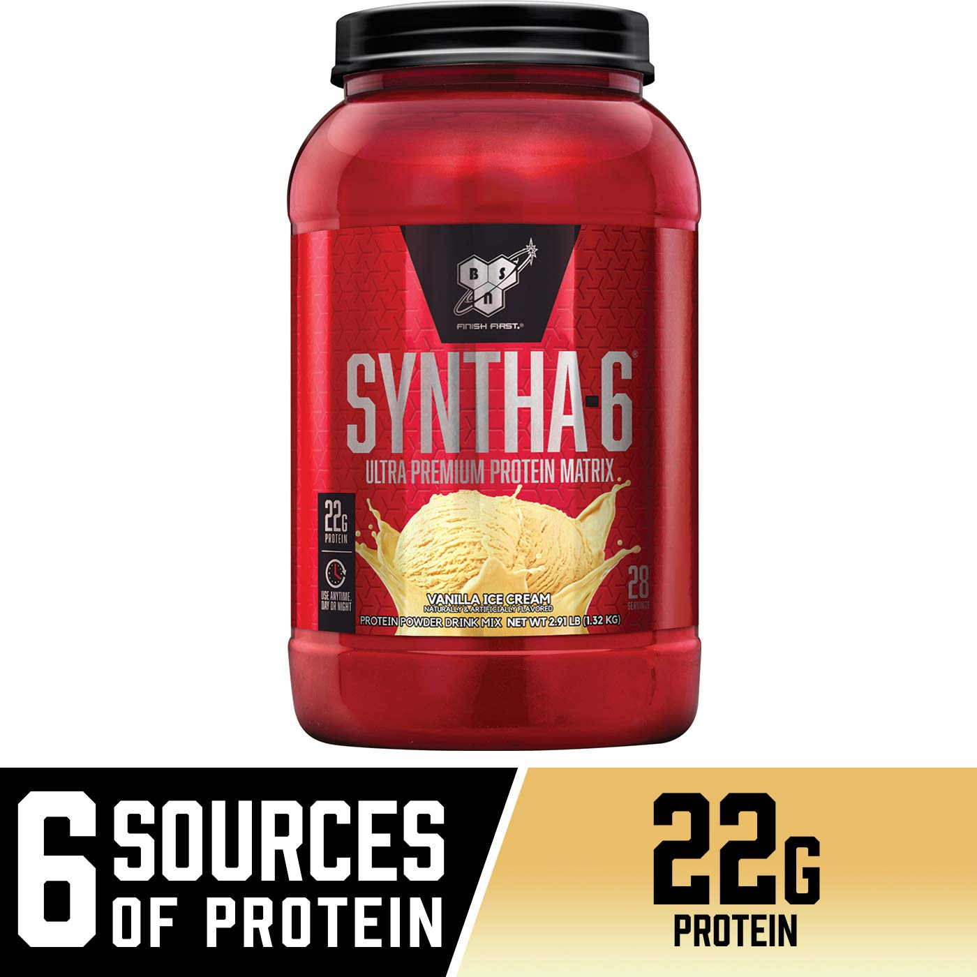 BSN SYNTHA-6 Whey Protein Powder, Micellar Casein, Milk Protein Isolate Powder, Vanilla Ice Cream, 28 Servings Package May Vary