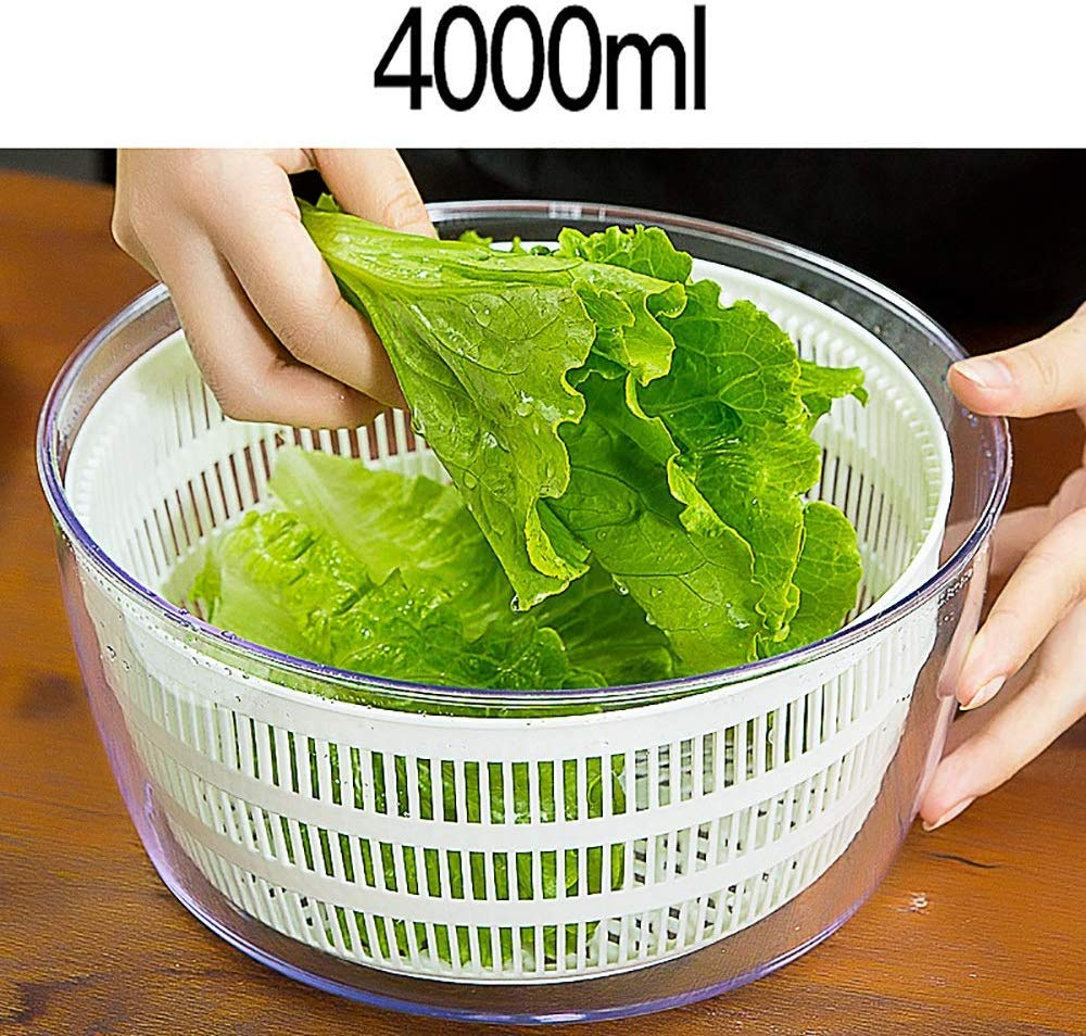 Aich Dehydrated Basket Salad Spinner Vegetable Dehydrator Salad Dryer Home Wash Basin Creative Kitchen Manual Fruit Water Drain Basket Large Capacity 4 Liters by Aich