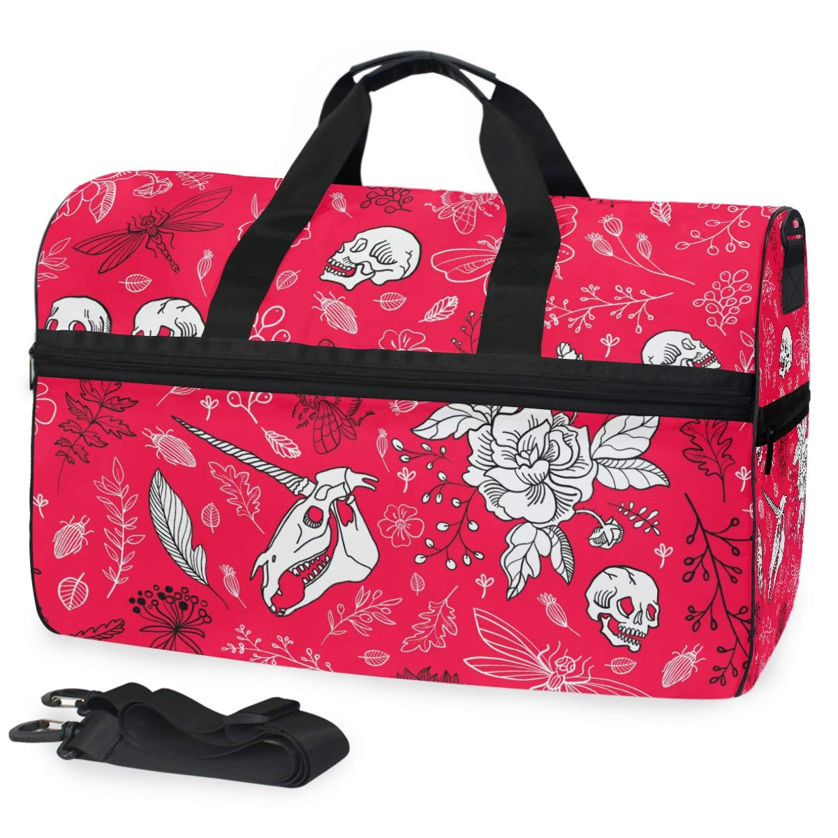 Large Capacity Travel Bag Hand Drawn Skull Flower Duffel Bag Gym Shoe Compartment Sport Tote Bags Handbag