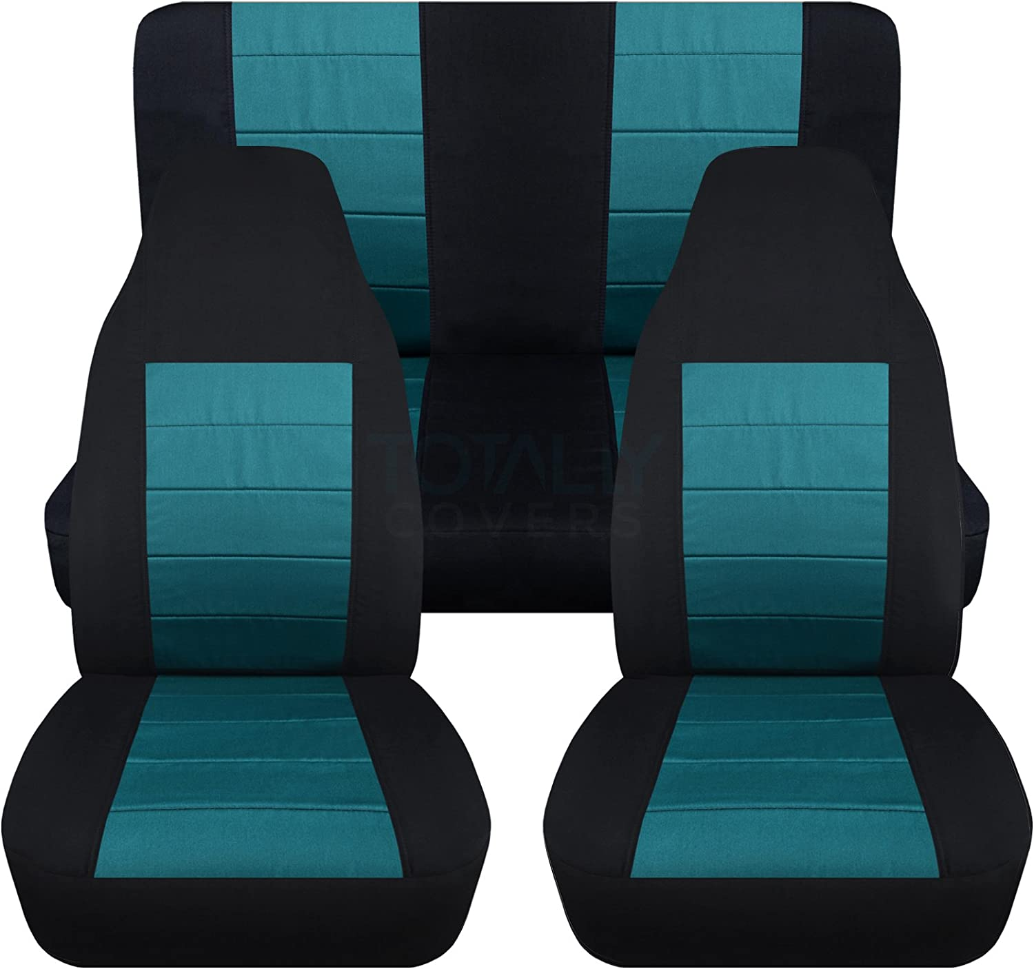 Totally Covers Compatible with 1987-1995 Jeep Wrangler YJ Seat Covers: Black & Teal - Full Set: Front & Rear (23 Colors) 2-Door Complete Back Bench