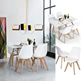 FurnitureR Set of 4 Dining Chair Tulip Natural Solid Wood Legs Design with Cushioned Pad Armless Lounge Chairs Kitchen White