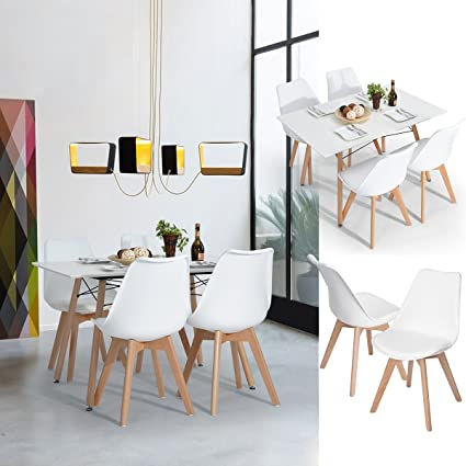 c71ab0b321df1 FurnitureR Set of 4 Dining Chair Tulip Natural Solid Wood Legs Design with  Cushioned Pad Armless Lounge Chairs Kitchen White