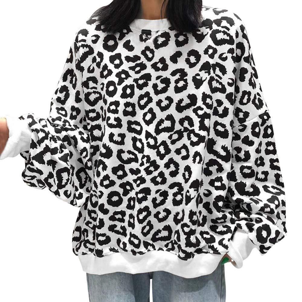Women Coat,JKRED Women Causal Leopard Printed O Neck Long Sleeve Blouse Pullover Tops Shirt