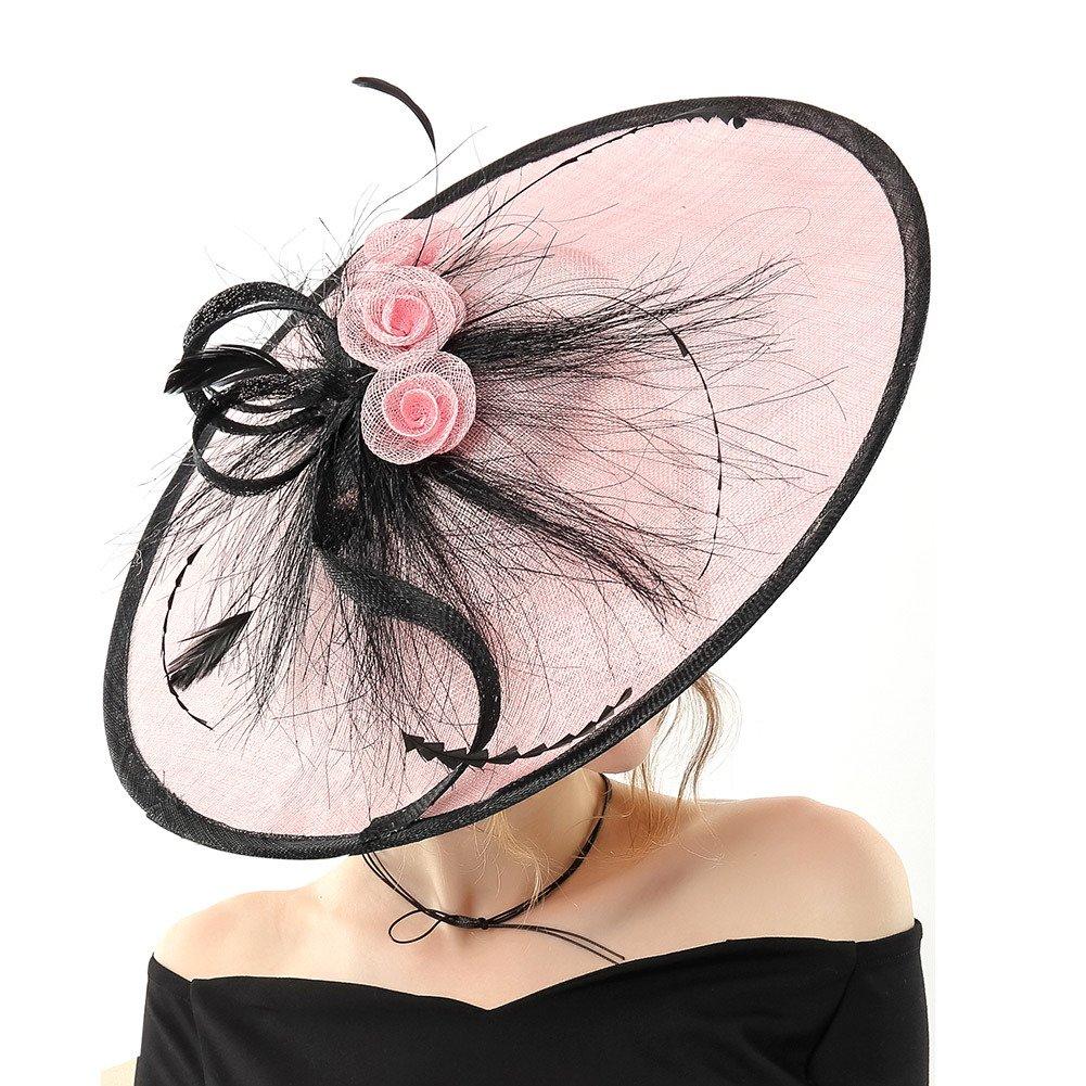 Koola Hatinator Hat Fascinators Church Cocktail Party Wedding Sinamay Women Hats Pink
