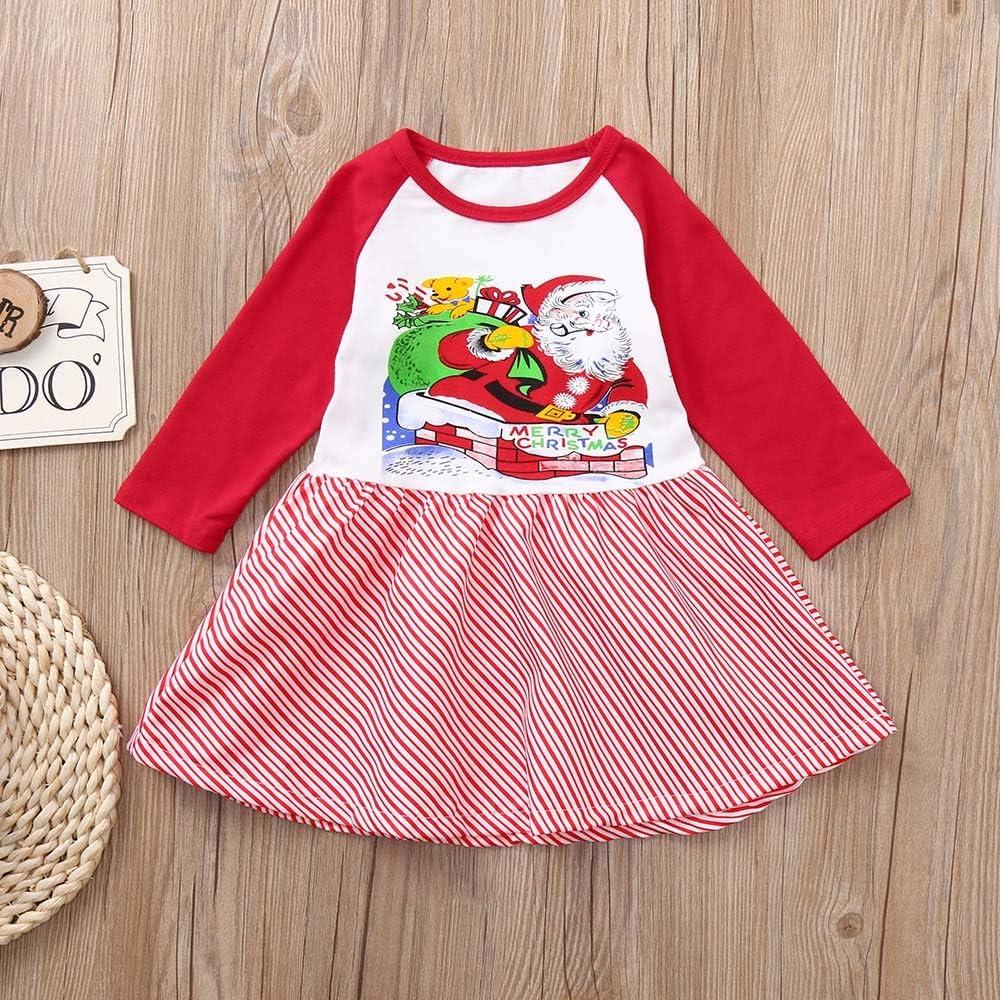 GorNorriss Toddler Kids Baby Girls Santa Claus Splice Long Sleeve Christmas Party Dress