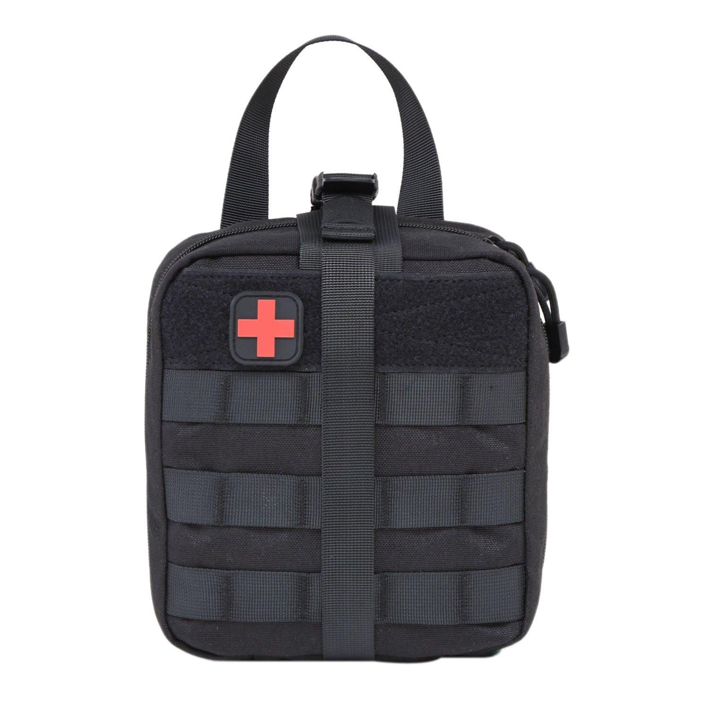 Medical First Aidタクティカルポーチコンパクト医療ユーティリティバッグポータブルホーム旅行キャンプMini医療バッグMergencyサバイバルFirst Aid Kit  1ブラック B073S4BBR6