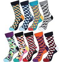 EGOGO 5 Pairs Cool Geometry Design Crew Casual Dress Socks Funky Novelty Unisex Cotton Socks for Men and Women E611-5