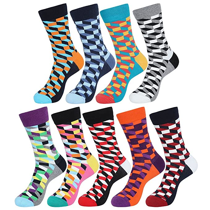 ValueHall 5 Pares Transpirable Moda Calcetines de Colores Estampados Calcetines de Algodón Hombre y Mujer E611