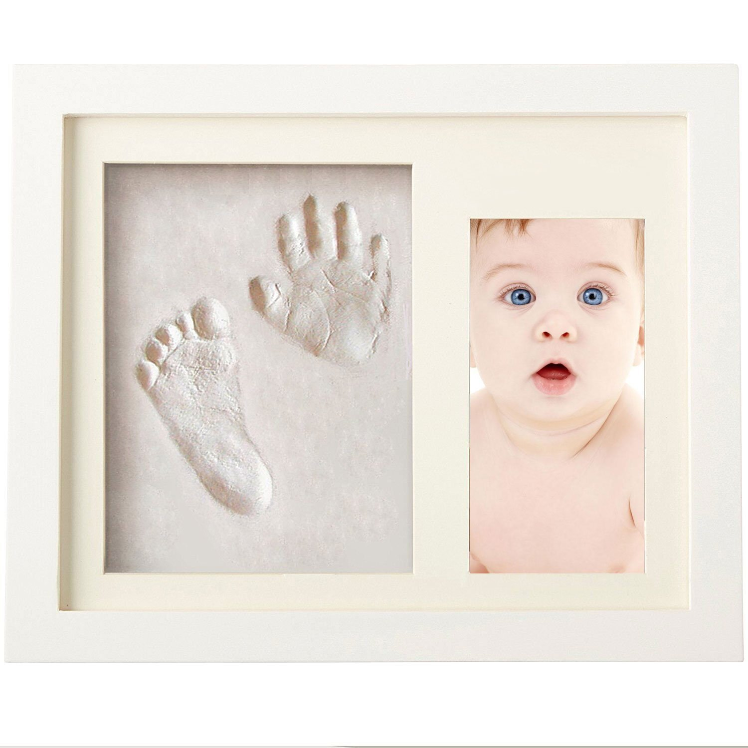 Baby Hand and Footprint Picture Frame Kit - BabyPrints Photo Frames, Safe Clay & Wood Frames, Newborn Baby Gifts Junxave