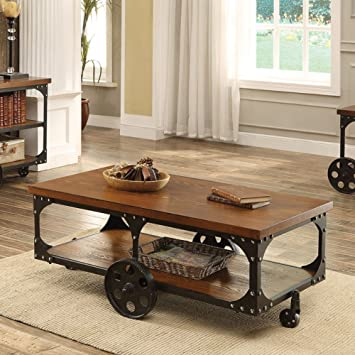 Coaster 701128 Home Furnishings Coffee Table Rustic Brown