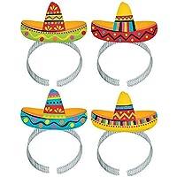 Amscan Fiesta Sombrero Headband 8-Pieces, multicolour