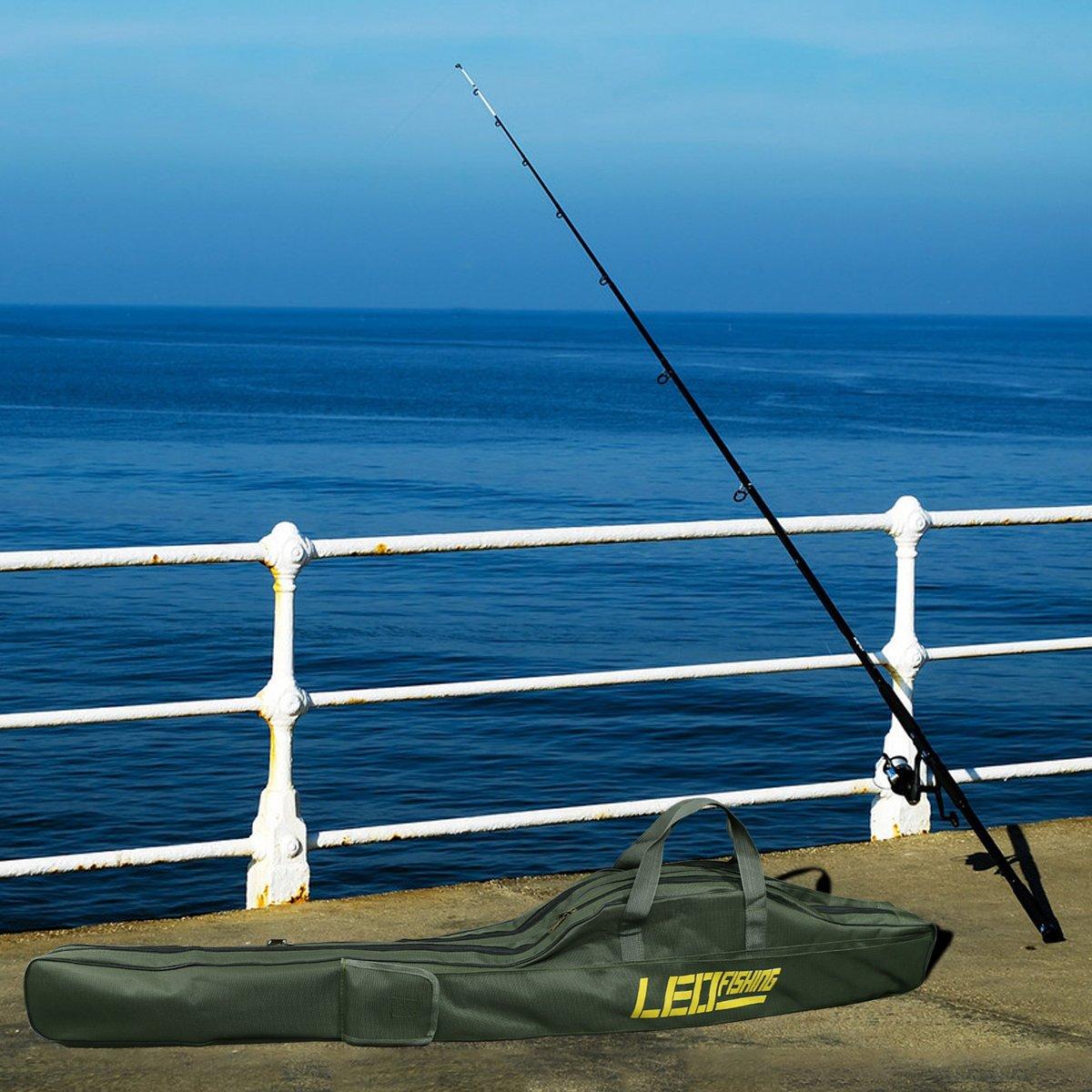 Ca/ña de pesca bolsa de transporte plegable impermeable pesca Polo herramientas bolsa de almacenamiento caso organizador de soporte de viaje de gran capacidad de doble capa aparejos de pesca