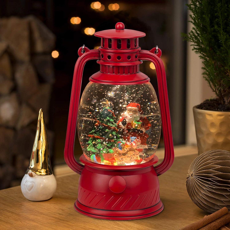 TIJNN Snow Globe Lantern Water Sparkling Santa Claus and Christmas Tree Scene, Battery and USB Powered Home Decoration Lights Birthday