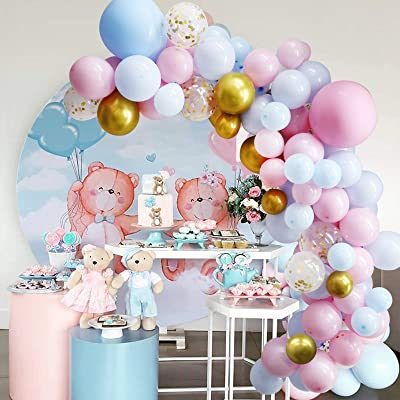 Blue Pink Balloons Garland Kit 100 Pack Metallic Gold /& Metallic Silver /& White Balloons Macaron Latex Balloon for Birthday Baby Shower Baby Boys Or Girls He Or She Gender Reveal Arch Theme Party Decorations