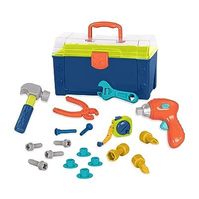 Battat – Battat Busy Builder Tool Box – Durable Kids Tool Set – Pretend Play Construction Tool Kit for Kids 3 years+ (20-Pcs): Toys & Games
