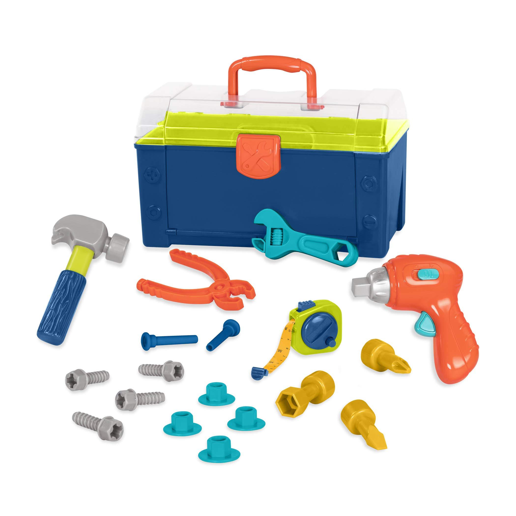 Battat - Battat Busy Builder Tool Box - Durable Kids Tool Set - Pretend Play Construction Tool Kit for Kids 3 years+  (20-Pcs) by Battat