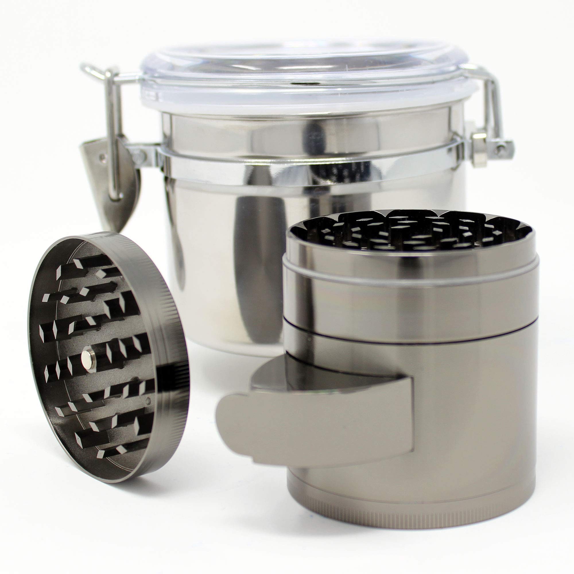CrudeMechanics 2-in-1 Grinder and Canister Travel Pack - Crush/Store Herbs Spice Weed Tobacco Like a Harvester
