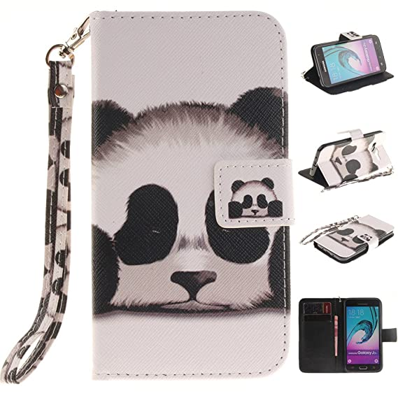 Galaxy J3 Case, Galaxy Express Prime Case,XYX [Panda][Painted Lanyard] PU  Leather Wallet Case Kickstand Cover with Built-in Slots for Samsung Galaxy