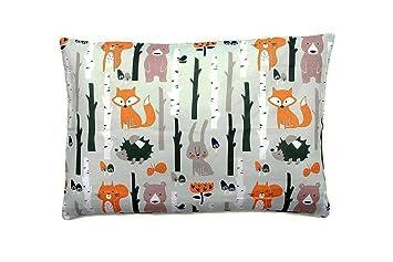 Funda de almohada 40 cm x 60 cm 100% algodón hecho en Europa colorido, 100% algodón algodón, animales del bosque, 39 cm x 56 cm
