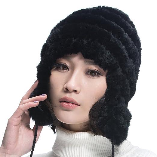 ae3c093f03d URSFUR Women s Rex Rabbit Fur Hats Winter Ear Cap Flexible Multicolor  (Black)