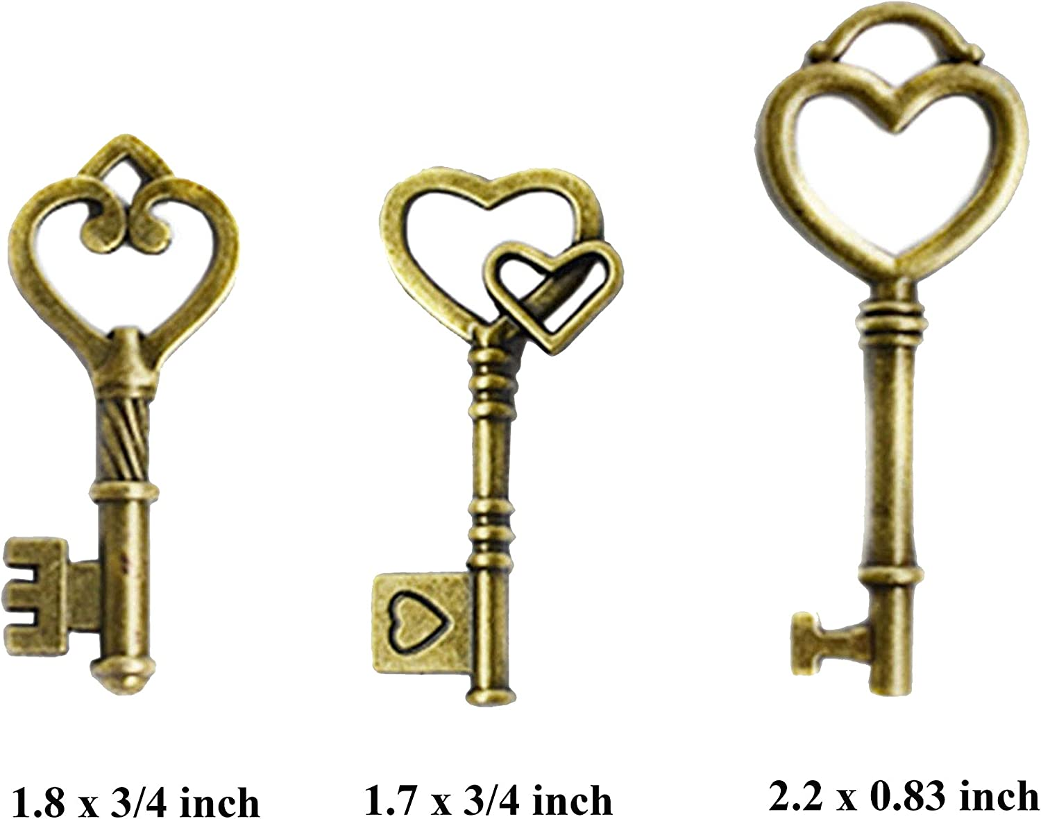 Lot 3--50 old look keys antique vintage style  3 colors jewelry craft wedding