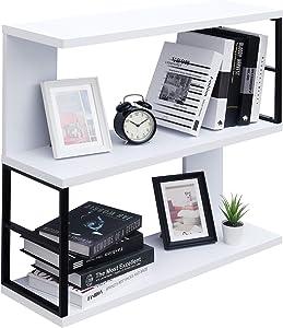 "WELLAND 32"" Morden Floating Bookshelf 3-Tier Bookcase Wall Mounted Shelf CD DVD Storage Display for Office, Bathroom, Kitchen,Livingroom (White)"