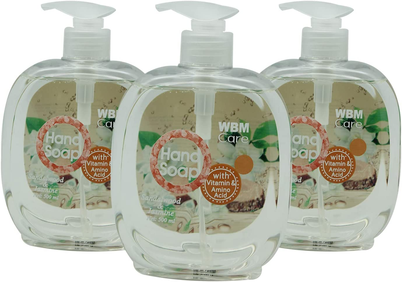 WBM Care Natural Liquid Hand Soap,Sandalwood & Jasmine,16.9 Oz (3-Pack)
