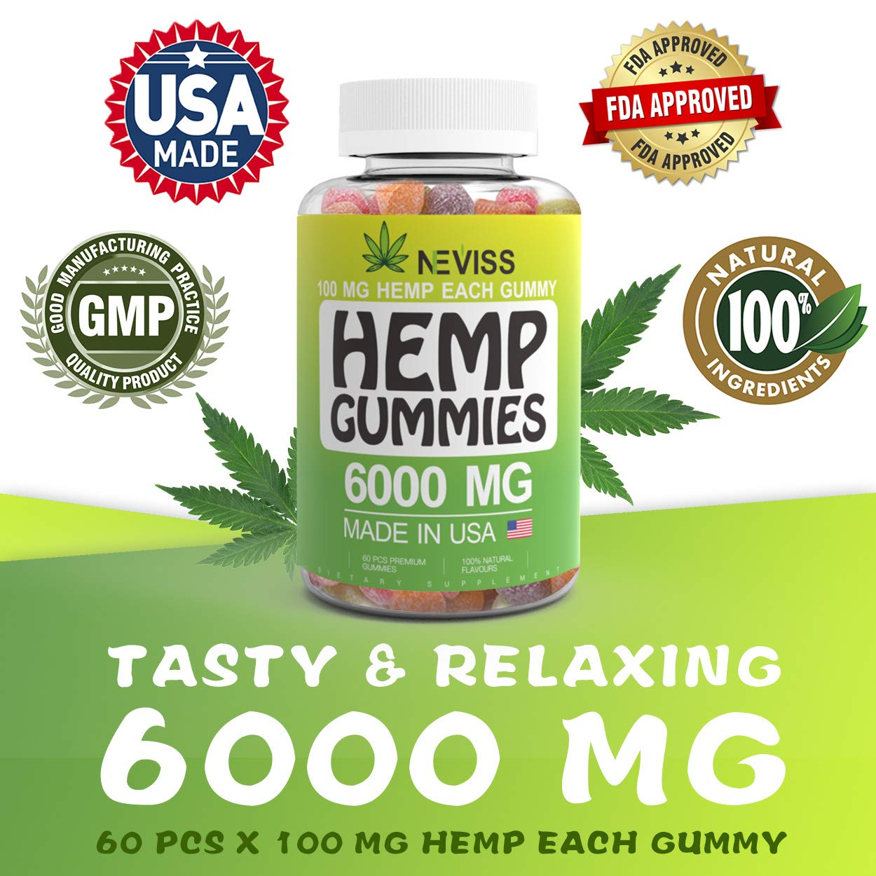 Omega 3, 6 & 9 Gummies 6000 MG - Natural Premium Herbal Extract - Omega Organic Gummies - Relaxing, Pain Relief, Stress & Anxiety Relief - Made in USA