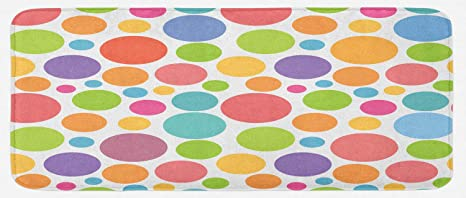 Lunarable Polka Dot Kitchen Mat Colorful Pattern Dots Inspirations Abstract Cheerful Geometric Design Plush Decorative Kitchen Mat With Non Slip Backing 47 X 19 Coral Purple Kitchen Dining