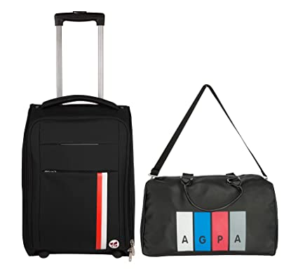 3G 20 inch / 55 cme Cabin Size Suiztcase Plus 18 inch Leather Gym Bag Combo of 2 Pcs (Black)