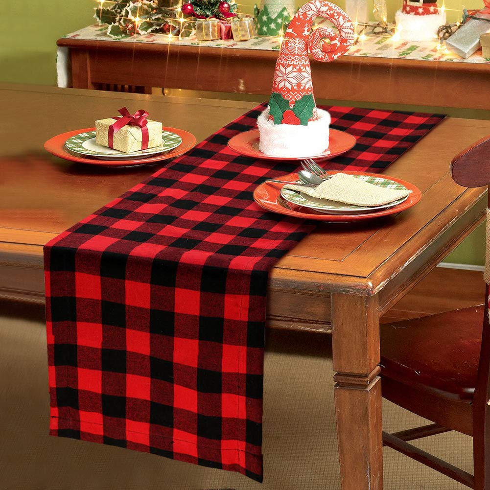 PartyTalk Christmas Table Runner Red Black Cotton Buffalo Check Plaid and Burlap Double Sided Table Runner for Holiday Winter Home Decorations, 14 x 72 Inch