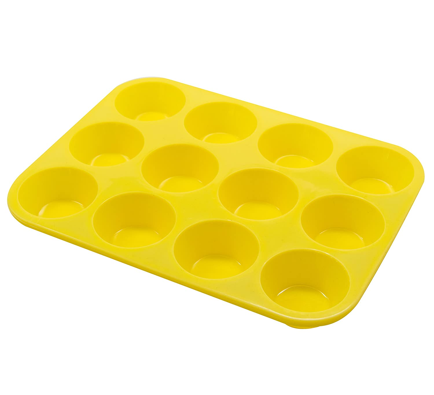 Marathon KW200011YE Premium Silicone Non-Stick Mini Muffin and Cupcake Pan. BPA Free, Oven and Dishwasher Safe, Easy to Clean, Color – Yellow.