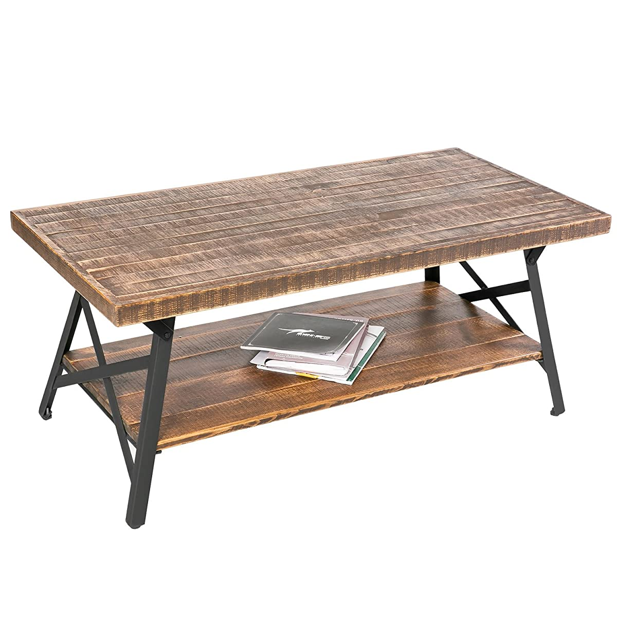 "Harper&Bright Designs 43"" Wood Coffee Table with Metal Legs, End Table/Living Room Set/Rustic Brown (Brown Coffee Table)"