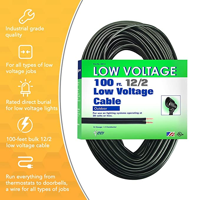 coleman cable low voltage outdoor lighting cable 100 ft 12 2 gauge rh amazon com