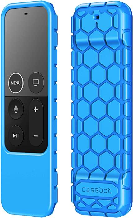 Fintie Protective Case for Apple TV 4K 5th, 4th Gen Remote - CaseBot (Honey Comb Series) Lightweight (Anti Slip) Shock Proof Silicone Cover for Apple TV Siri Remote Controller, Blue