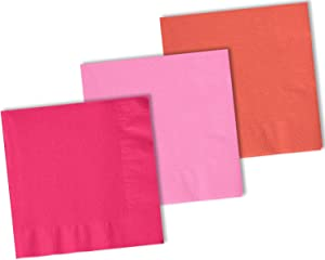 150 Beverage Napkins, Coral, Electric Pink, Candy Pink - 50 Each Color. 2 Ply Paper Cocktail Napkins. 5