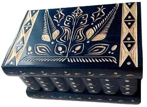 Caja puzzle nuevo grande azul caja de joyas talladas caja mágica ...