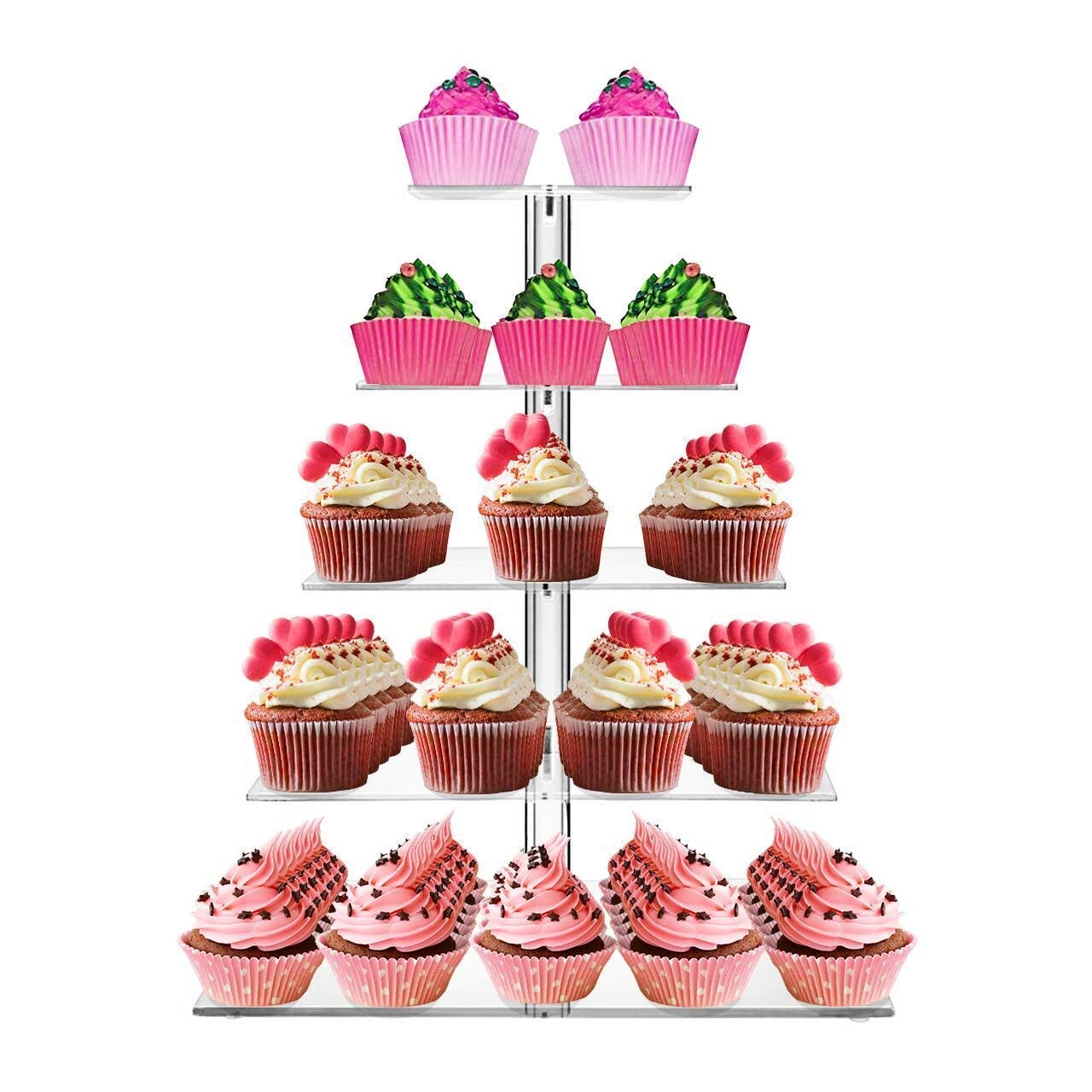 SortWise ® 5 Tier Square Wedding Party Tree Tower Acrylic Cupcake Display Stand (Also can use as 1 2 3 4 Tier) SaveOnMany