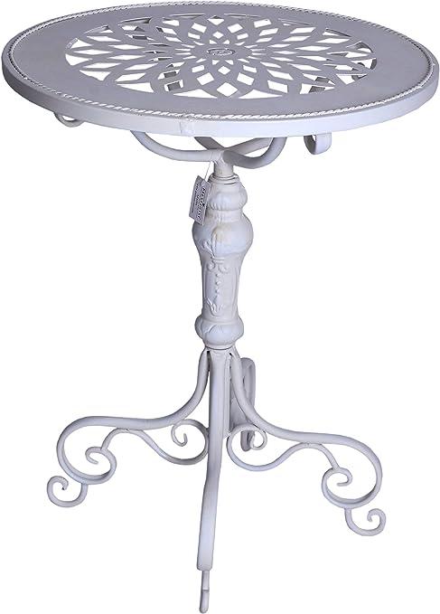 Beistelltisch Shabby Chic Tisch Weiss Eisentisch rund Teetisch 56 cm Palazzo Exclusiv