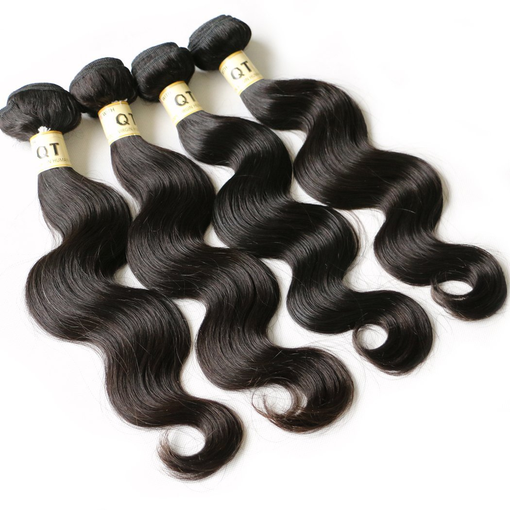 QTHAIR 10a Brazilian Virgin Hair Body Wave 4 bundles 20 22 24 26 inches 400g Unprocessed Brazilian Body Wave Human Hair Weave for Black Women Natural Color Tangle Free by QTHAIR (Image #1)