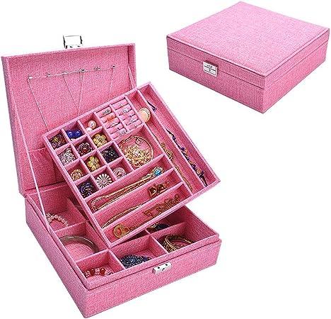 Cajas para joyas Caja de almacenamiento Caja de maquillaje de viaje Exhibición de la joyería Caja de joyería de PU Caja de cuero portátil Organizador de joyería Organizador de Joyas y Almacenamiento: